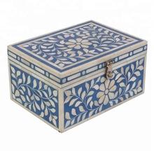 Blue color bone inlay small storage box