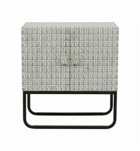Bone Inlay Deco Bedside With Iron Legs