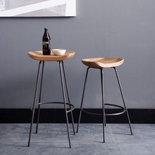 Industrial stool solid curve wooden seat