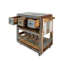 Industrial vintage reclaimed wood bar counter