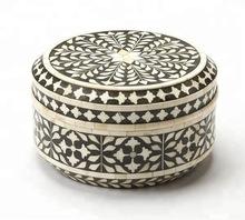 Traditional Round Bone Inlay Storage Box