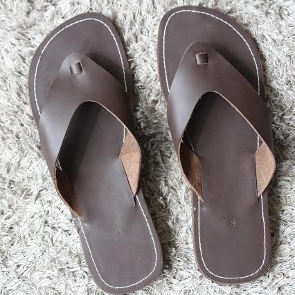 Mens Pure Leather Filp Flops Casual Sandal Slipper
