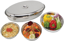 Stainless Steel Oval Curry Dish with Cover