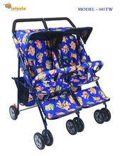Mild Steel Baby Twins Pram Stroller