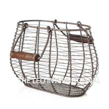 Decorative wooden handle oval shape basket