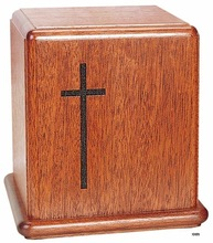 ENGRAVED CROSS CREMATION WOOD URN