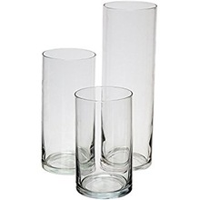 GLASS CYLINDRICAL CLEAR FROSTED VASES