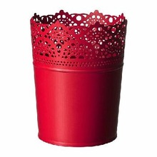 RED GALVANIZED LACE POT