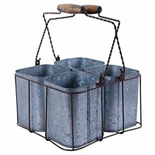 WIRE CADDY WITH GALVANIZED POTS