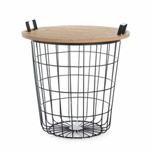 Wooden top iron metal Wire Table