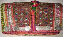 patchwork handmade purse with beaded mirror work tassel