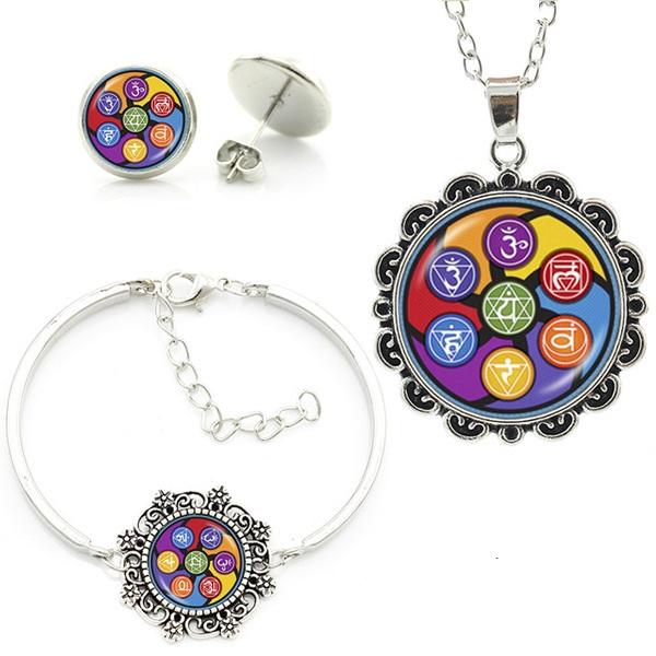 7 Chakra Glass Jewelry Set