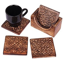 Antique Hand Carved Wooden Cup Coaster