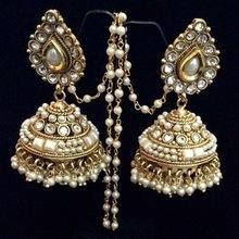 Artificial Gold Kundan Polki Bridal earrings
