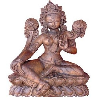 Buddhist Goddess Tara Wooden Statue