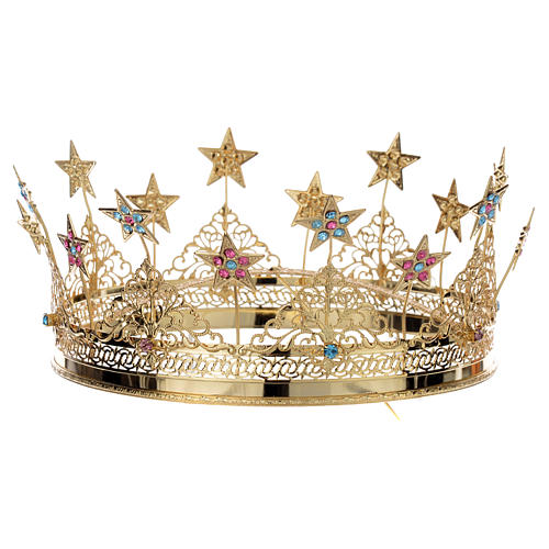 Colored Strass Golden Brass  Crown