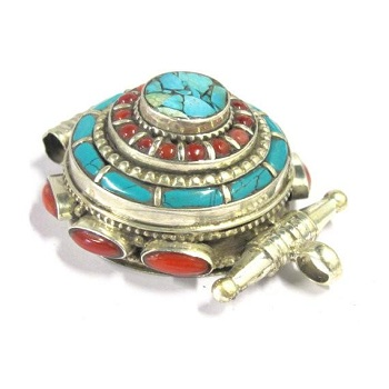 Ethnic Tibetan silver Ghau prayer box pendant
