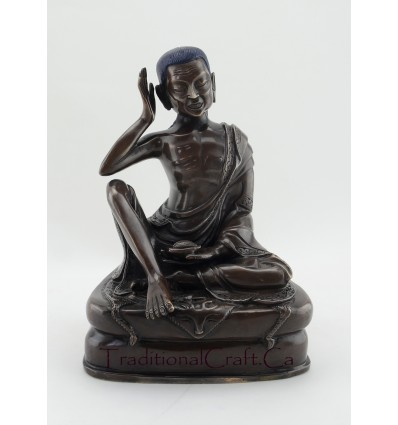 FINELY HAND CARVED GURU MILAREPA OXIDIZED COPPER ALLOY STATUE