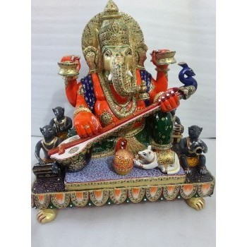 Ganesha Wooden Painted Sculpture
