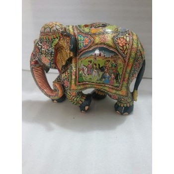 Handmade Painted Mughal Wooden Elephant