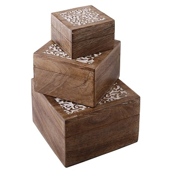 Mango Wood Square Jewelry Boxes