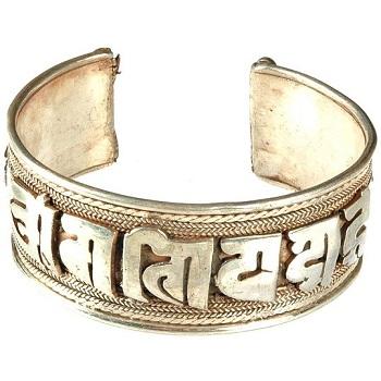 Nepalese Om Mani Padme Hum metal bracelet