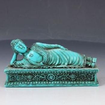 Sleeping Buddha Turquoise Statue