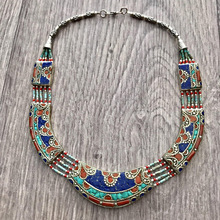 Turquoise bohemian, gypsy necklace