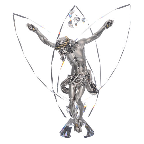White Crystals Crucifix Statue