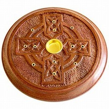 Wooden Celtic Cross Cone/Stick Incense Burner