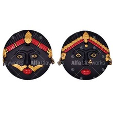 Wall Decorative Terracotta Clay Round Mask