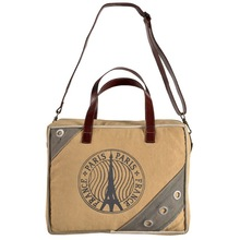 Washed Women Shopping canvas leather travel laptop bag