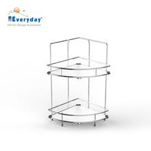 2 tiers Stainless Steel Wire Kitchen Corner Shelf