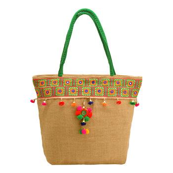 Jute Hand Embroidered Shoulder Bag