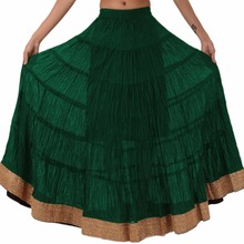 Long Cotton Skirt with Border