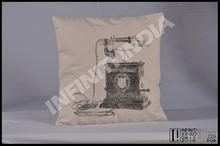 Vintage old telephone print canvas cushion