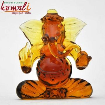 Amber Ganesha Handmade Glass