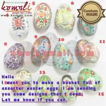 Assorted Hand Painted Paper Mache Easter Egg