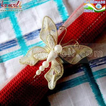 Butterfly design beaded handmade napkin ring