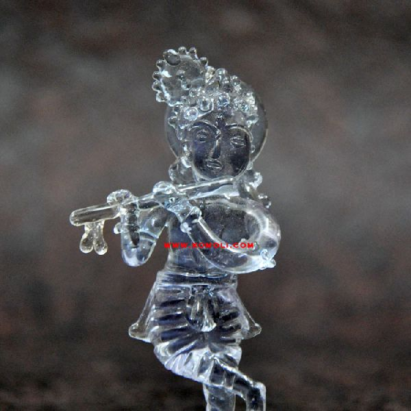 crystal glass Lord Krishna statues