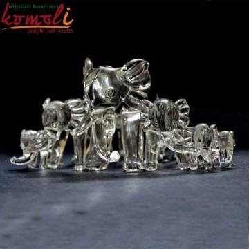 Elephants Glass Sculpture