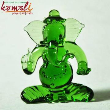 Emerald Ganesha Borosilicate Glass