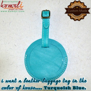 Leather Turquois Blue Round Luggage Tag