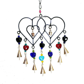 Twin heart-shaped wind chime metal craft