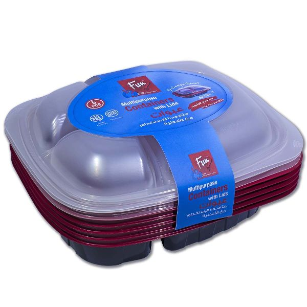 3-Comp Black and Red Hot Multipurpose Cont. Lid PP