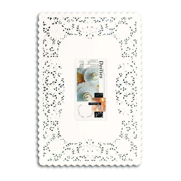White Rectangular Handmade Crochet Doilies
