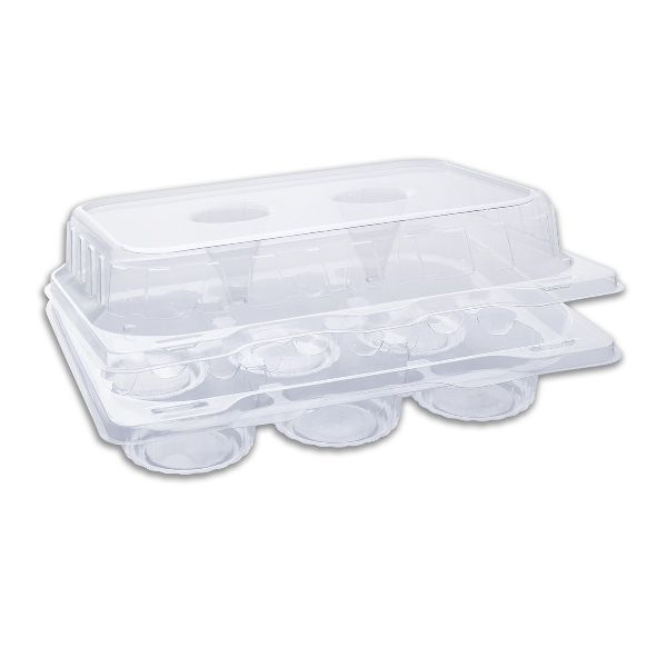 Muffinpac Clear Container w/ 6 Muffin Comp. and Hinged Lid