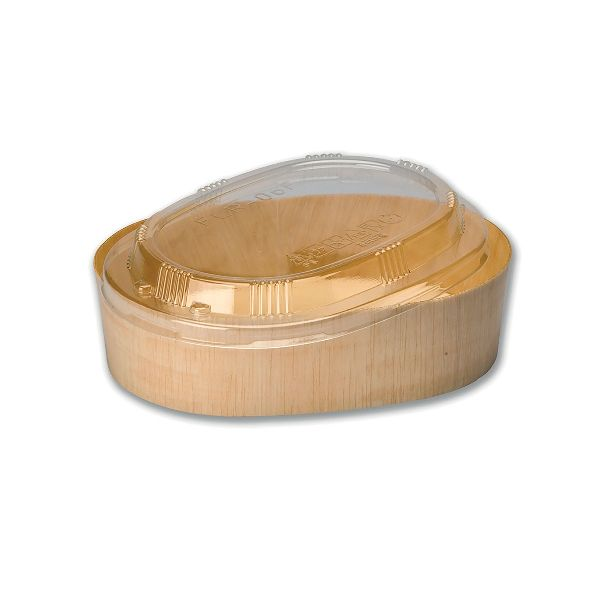 Oval Wooden Container 16oz Clear Lid