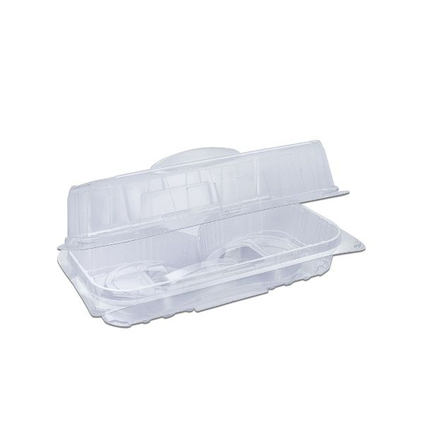 Pastripac 2-Comp Rectangular Clear Pastry Box w/ Handle