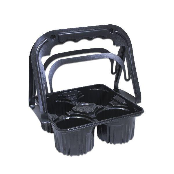 Plastic Takeaway Drinks Carrier - Black